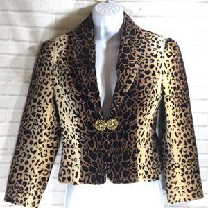 Leopard Print Velvet Cropped Jacket  Blazer sz 0